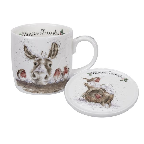 Wrendale Designs Fine Bone China Mug & Coaster Set Winter Friends Donkey & Robin