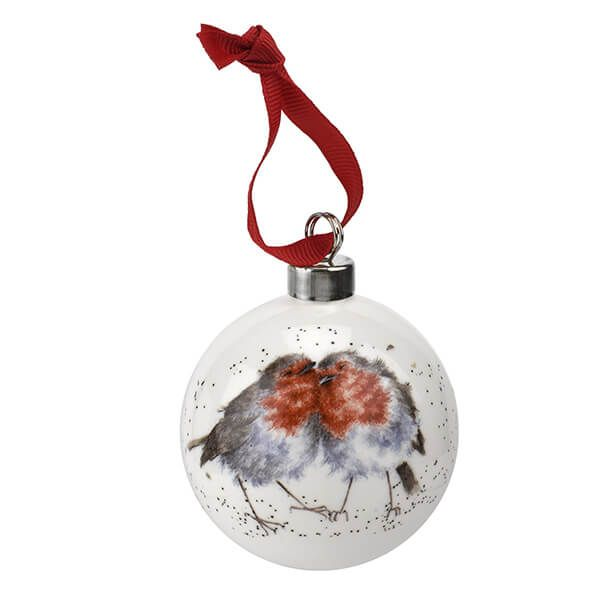 Wrendale Designs Ceramic Christmas Decoration Snuggled up Together like Two Birds of a Feather Robin