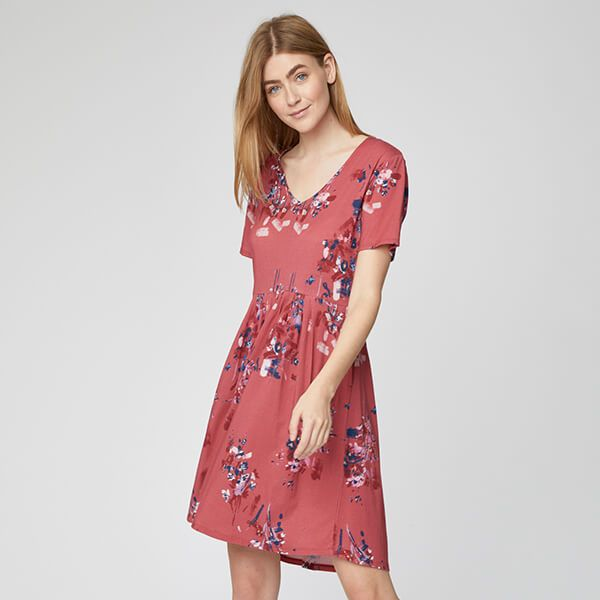 Thought Hibiscus Red Cassia Dress