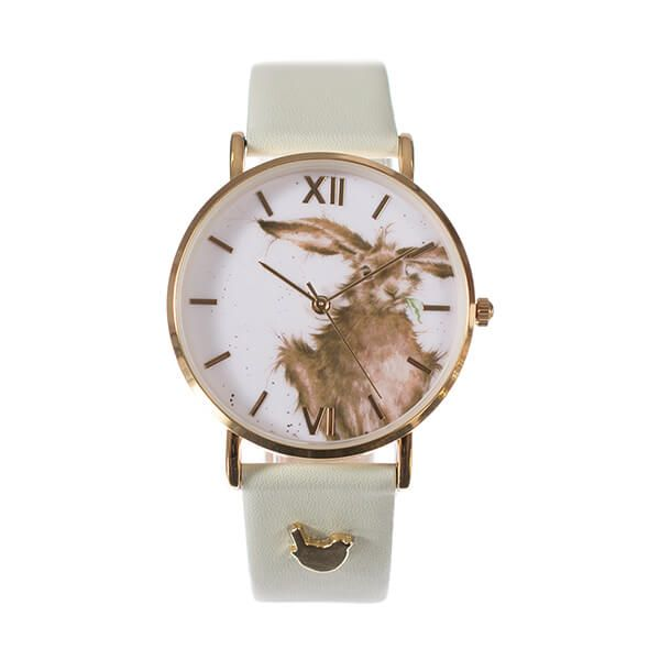 Wrendale Designs Hare Watch - Green Leather Strap