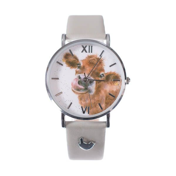 Wrendale Designs Cow Watch - Grey Leather Strap