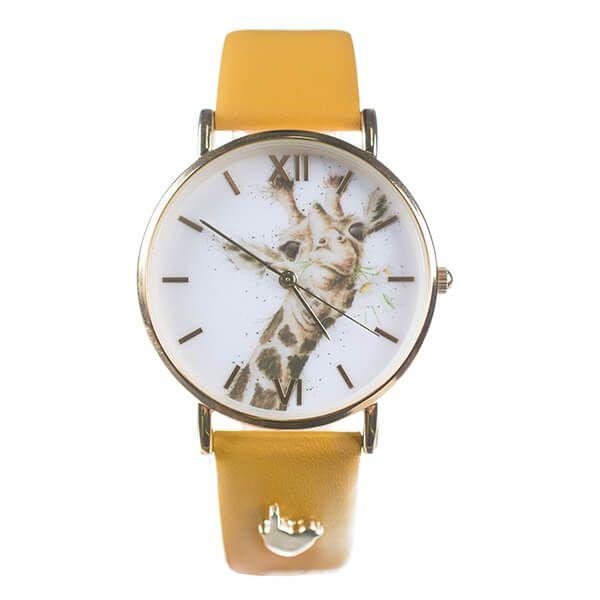 Wrendale Designs Giraffe Watch Mustard Vegan Leather Strap