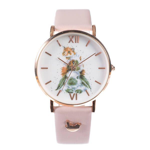 Wrendale Designs Piggy In The Middle Watch Pink Leather Strap