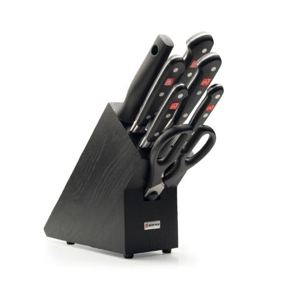 Wusthof Classic 7 Piece Anniversary Knife Block Set - Black