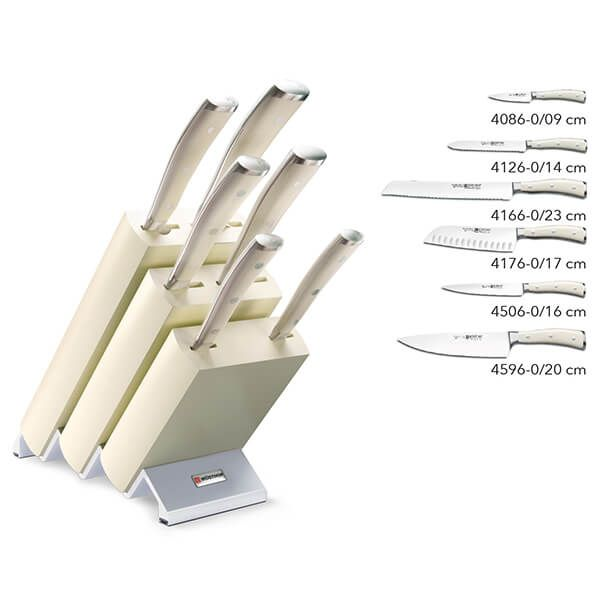 Wusthof Classic Ikon 6 Piece Knife Block Set Cream