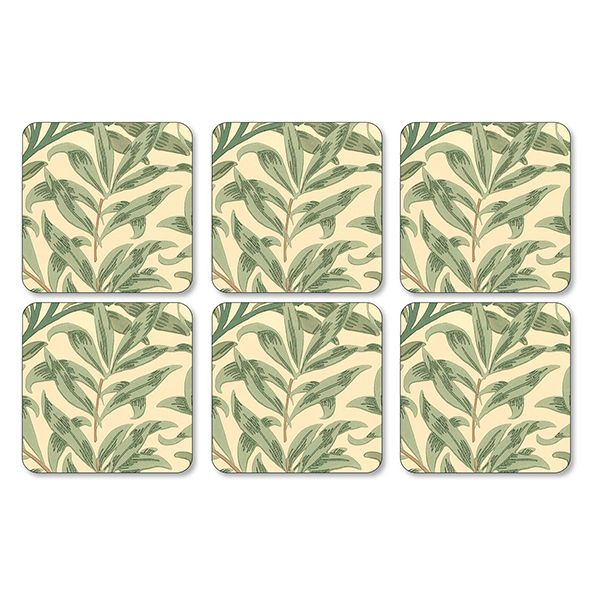 Morris & Co Willow Bough Green Coasters Set of 6