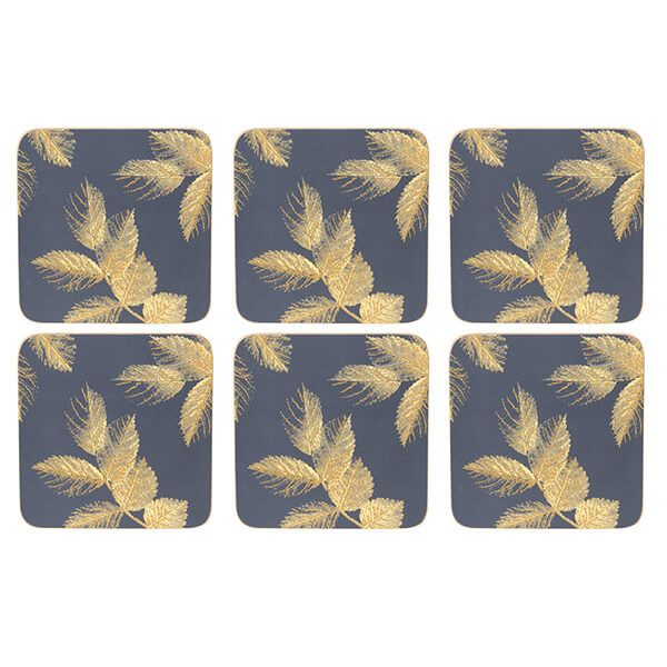 Sara Miller Etched Leaves Set of 6 Navy Coasters