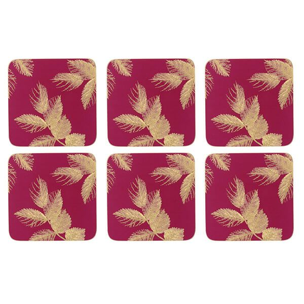 Sara Miller Etched Leaves Set of 6 Pink Coasters