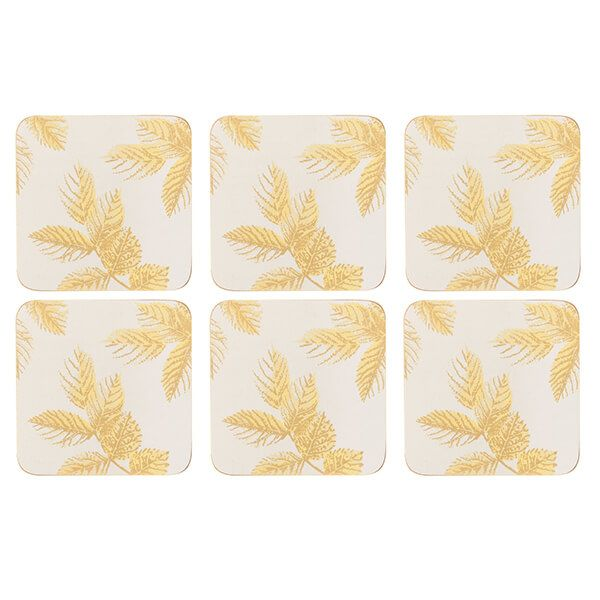 Sara Miller Etched Leaves Set of 6 Light Grey Coasters