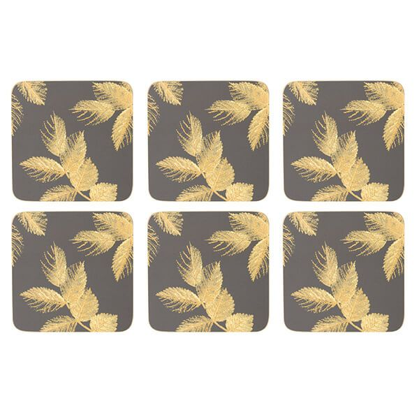 Sara Miller Etched Leaves Set of 6 Dark Grey Coasters
