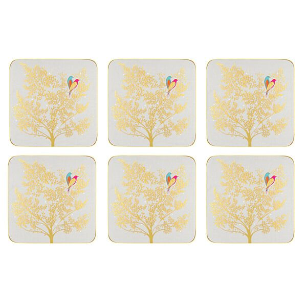Sara Miller Chelsea Collection Set of 6 Light Grey Coasters