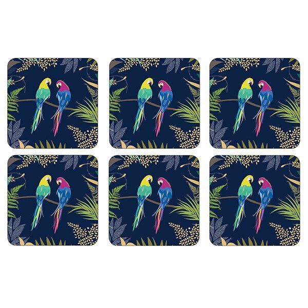Sara Miller Parrot Set of 6 Coasters