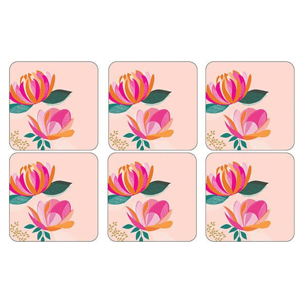 Sara Miller Peony Collection Set of 6 Pink Coasters