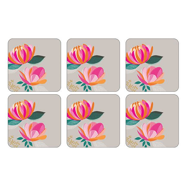 Sara Miller Peony Collection Set of 6 Grey Coasters