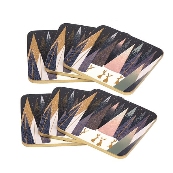 Sara Miller Frosted Pines Collection Set of 6 Coasters