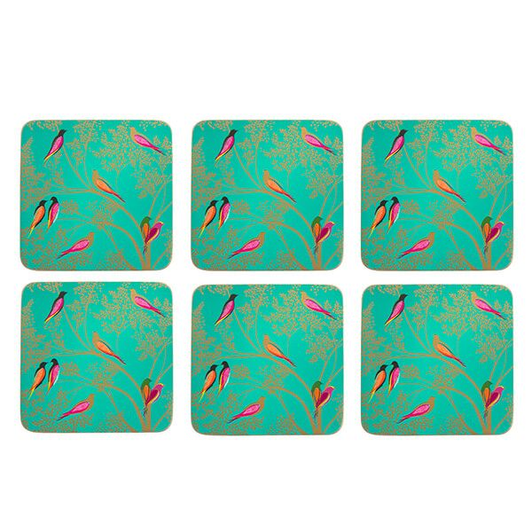 Sara Miller Chelsea Collection Set of 6 Green Coasters