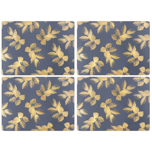 Sara Miller Etched Leaves Set of 4 Navy Placemats