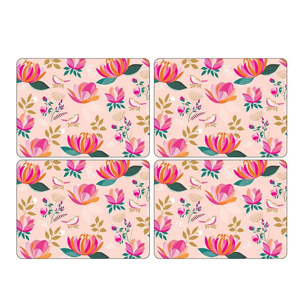 Sara Miller Peony Collection Set of 4 Pink Placemats