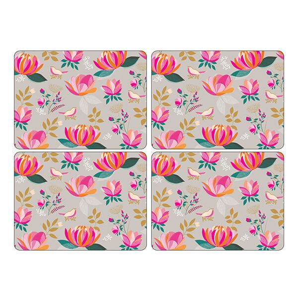 Sara Miller Peony Collection Set of 4 Grey Placemats