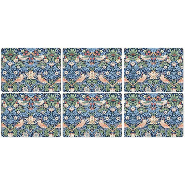 Morris & Co Strawberry Thief Blue Placemats Set of 6