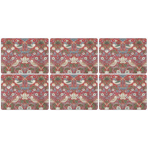 Morris & Co Strawberry Thief Red Placemats Set of 6
