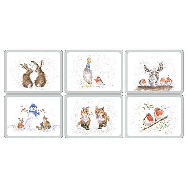 Wrendale Designs Christmas Collection Placemats Set Of 6