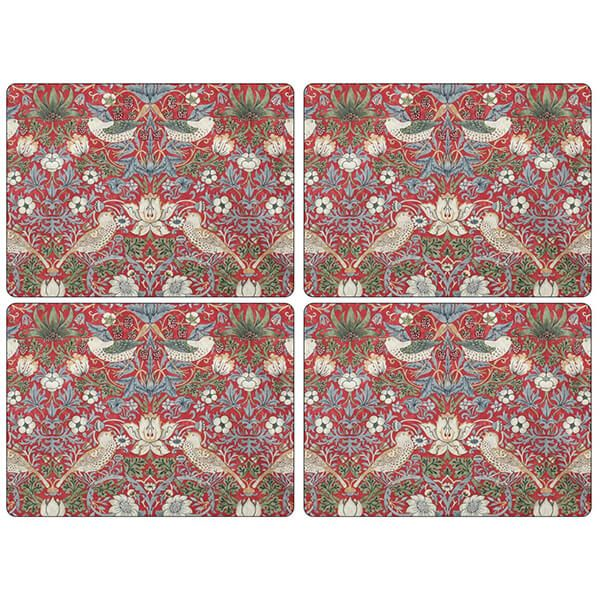 Morris & Co Strawberry Thief Red Placemats Set of 4