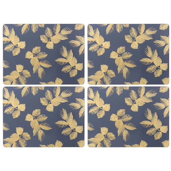 Sara Miller Etched Leaves Set of 4 Large Navy Placemats