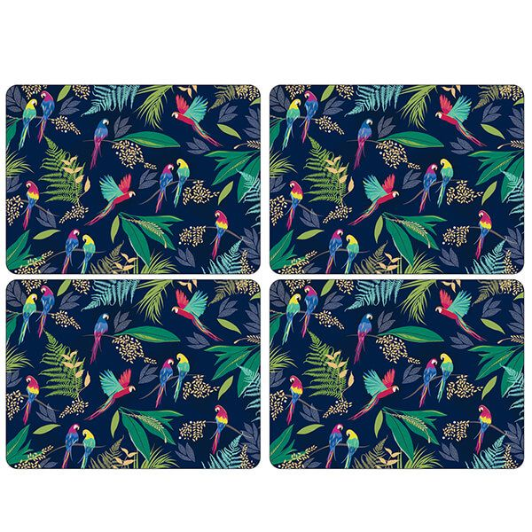 Sara Miller Parrot Set of 4 Large Placemats
