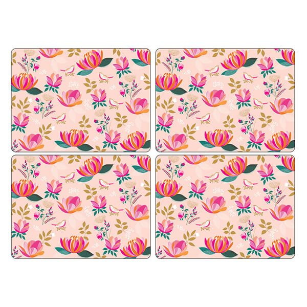 Sara Miller Peony Collection Set of 4 Pink Large Placemats
