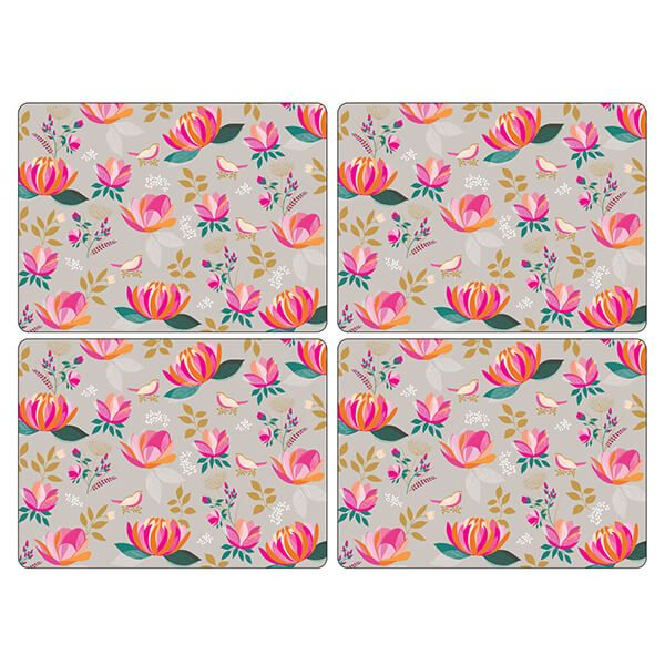 Sara Miller Peony Collection Set of 4 Grey Large Placemats