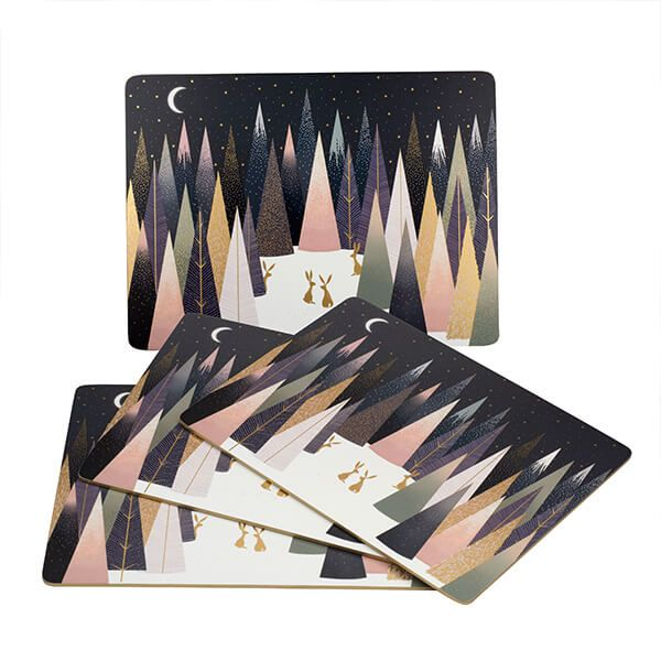 Sara Miller Frosted Pines Collection Set of 4 Large Placemats