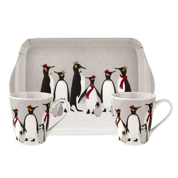 Sara Miller Christmas Collection Penguin Mug & Tray Set