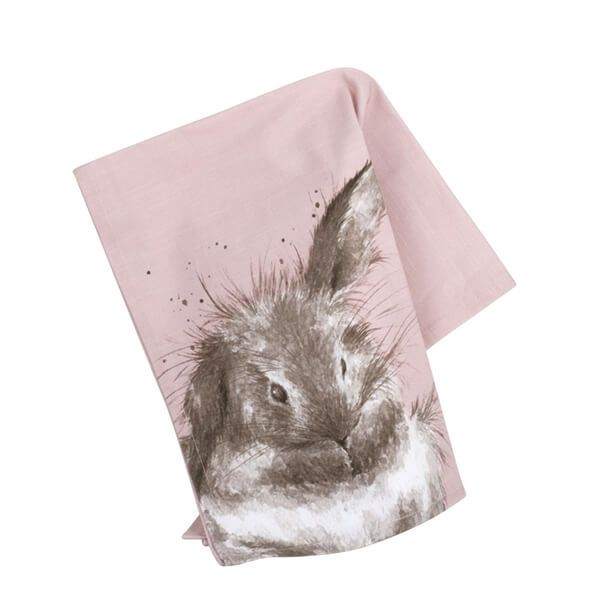 Wrendale Designs Tea Towel Pink Rabbit