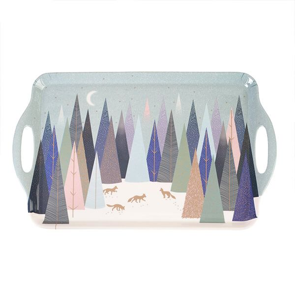 Sara Miller Frosted Pines Collection Large Handled Tray