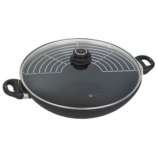 Swiss Diamond XD Induction 36cm Wok with Lid & Tempura Rack