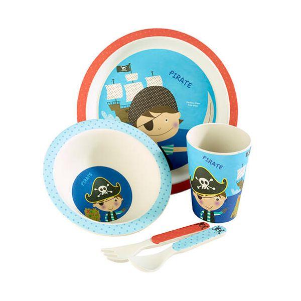 Arthur Price Bambino Pirate 5 Piece Bamboo Childs Dining Set