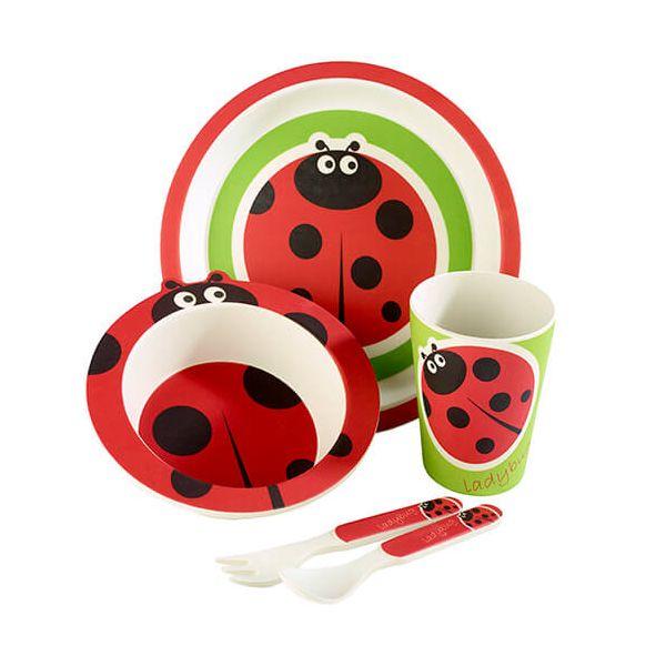 Arthur Price Bambino Ladybird 5 Piece Bamboo Childs Dining Set