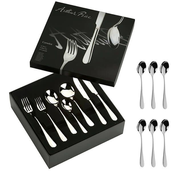 Arthur Price Signature Camelot 42 Piece Cutlery Box Set plus FREE Set of 6 Tea Spoons