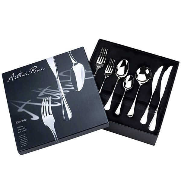 Arthur Price Signature Cascade 42 Piece 6 Person Cutlery Box Set FREE Extra 6 Tea Spoons
