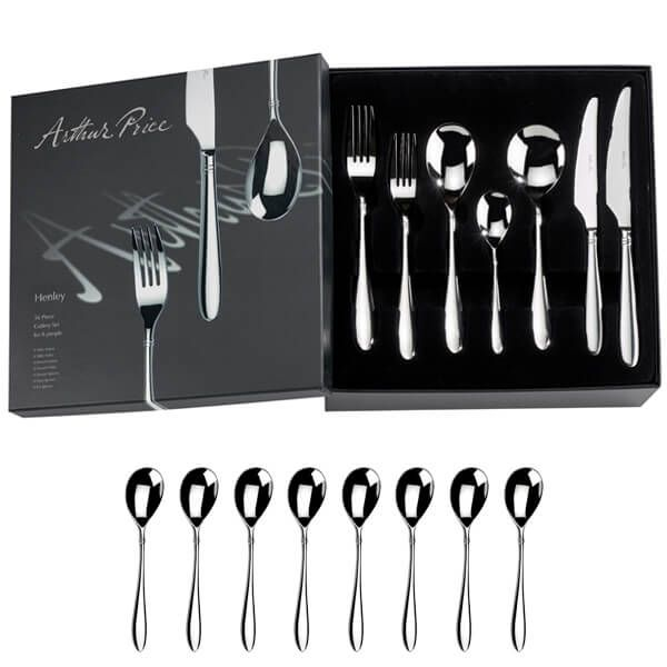 Arthur Price Signature Henley 56 Piece Cutlery Box Set plus FREE Set of 8 Tea Spoons