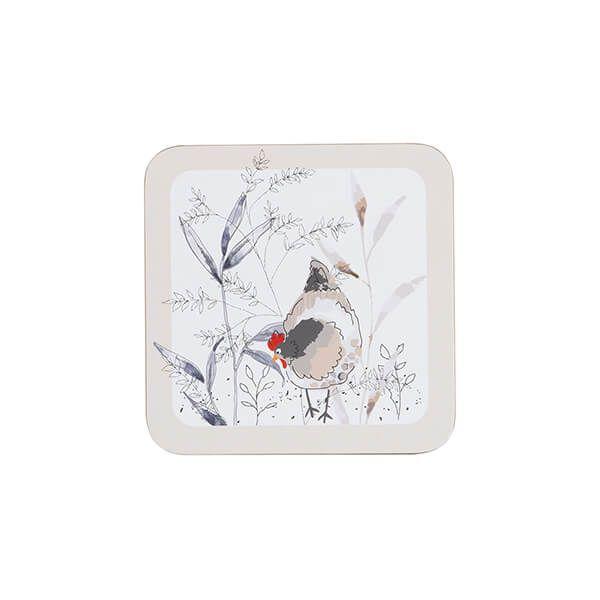 Price & Kensington Country Hens Set Of 4 Coasters