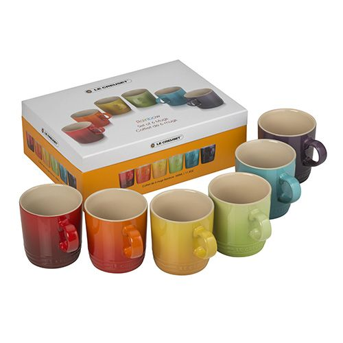 Le Creuset Rainbow Stoneware Set of 6 Mugs