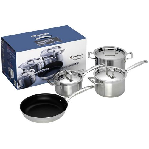 Le Creuset 3-ply Stainless Steel 4 Piece Set