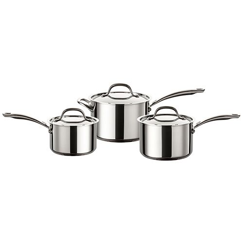 Circulon Ultimum Stainless Steel 3 Piece Saucepan Set