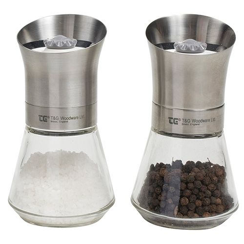 T&G CrushGrind Tip Top Stainless Steel Top Pepper & Salt Mill Set