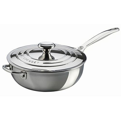 Le Creuset Signature 3-Ply Stainless Steel Non-Stick 24cm Chefs Pan With Lid