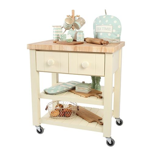T & G New England Cream Hevea with Hevea Top Kitchen Trolley Flat Packed