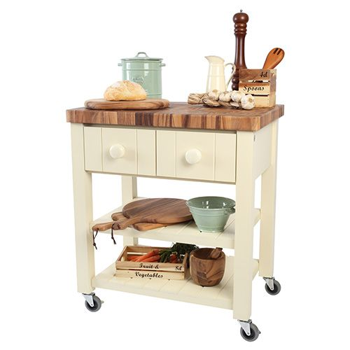 T & G New England Cream Hevea with Acacia Top Kitchen Trolley Flat Packed