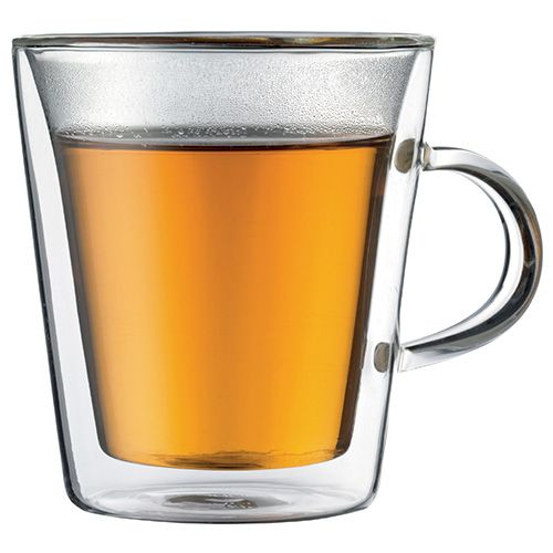 Bodum Canteen Glass Double Wall Cup With Handle 0.2L / 6oz Set Of 2